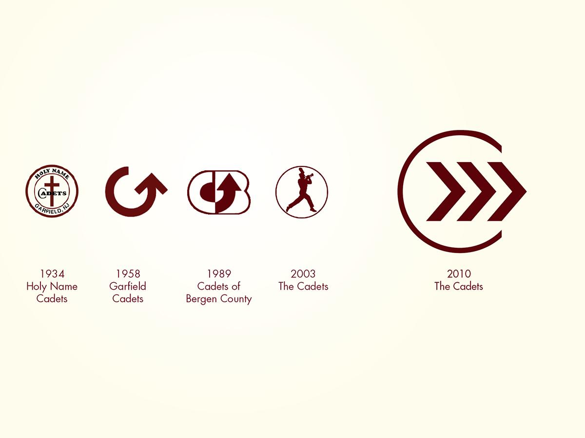 Adobe Portfolio,the cadets,logo,identity, symbol, chevron, c,Maroon,gold,stripes,honor,innovation