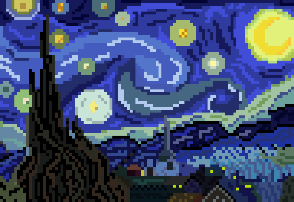 Pixel art van gogh munch salvador dali masterpiece art traditional painting