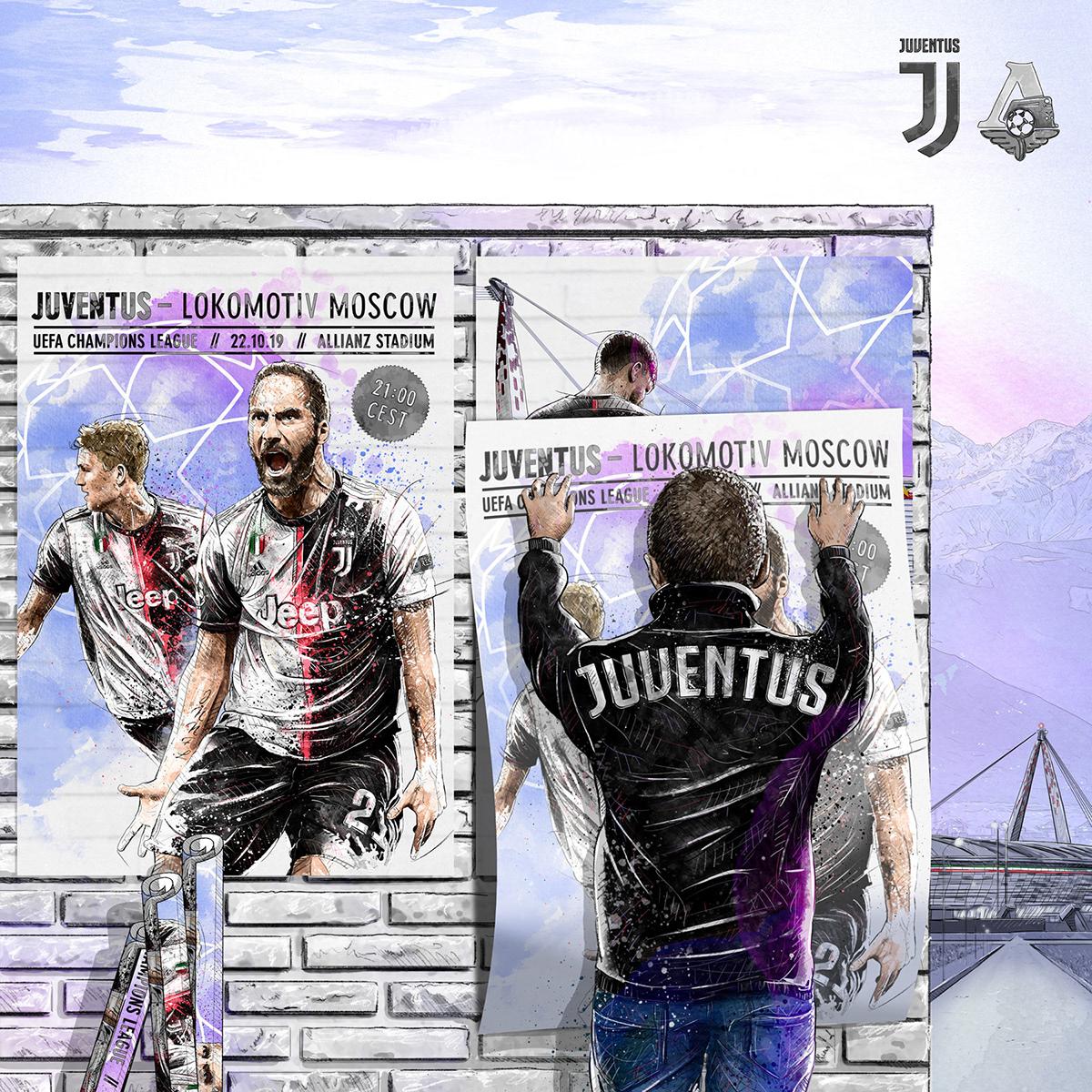 Dynamic sport/football illustration for Juventus vs Lokomotiv Moscow. Higuain, de ligt, stadium