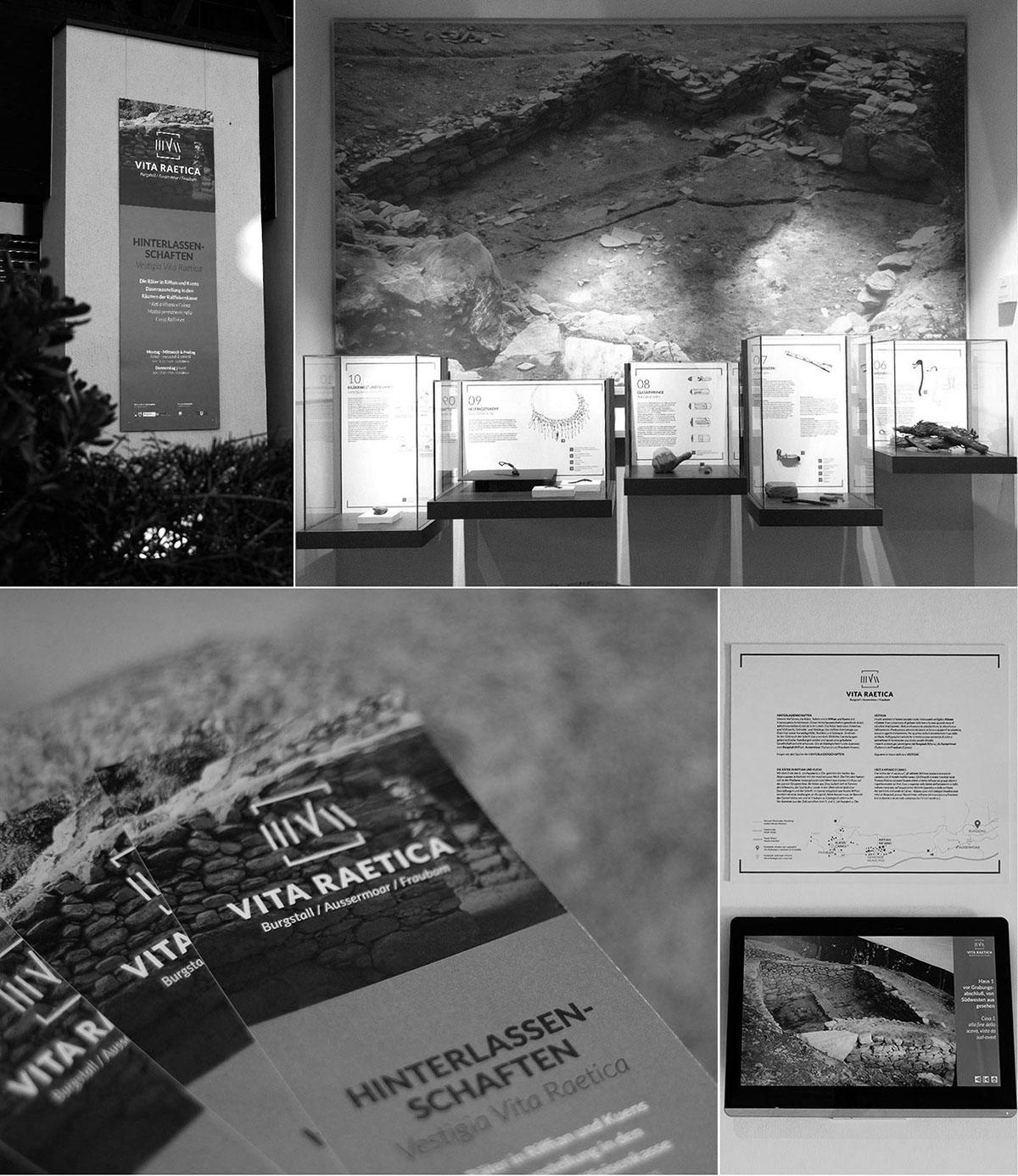 ausstellung logodesign einladung Vitrinen Dauerausstellung Die Räter Hinterlassenschaften Fundstücke lageplan Gesamtkonzept markenidentität Markendesign