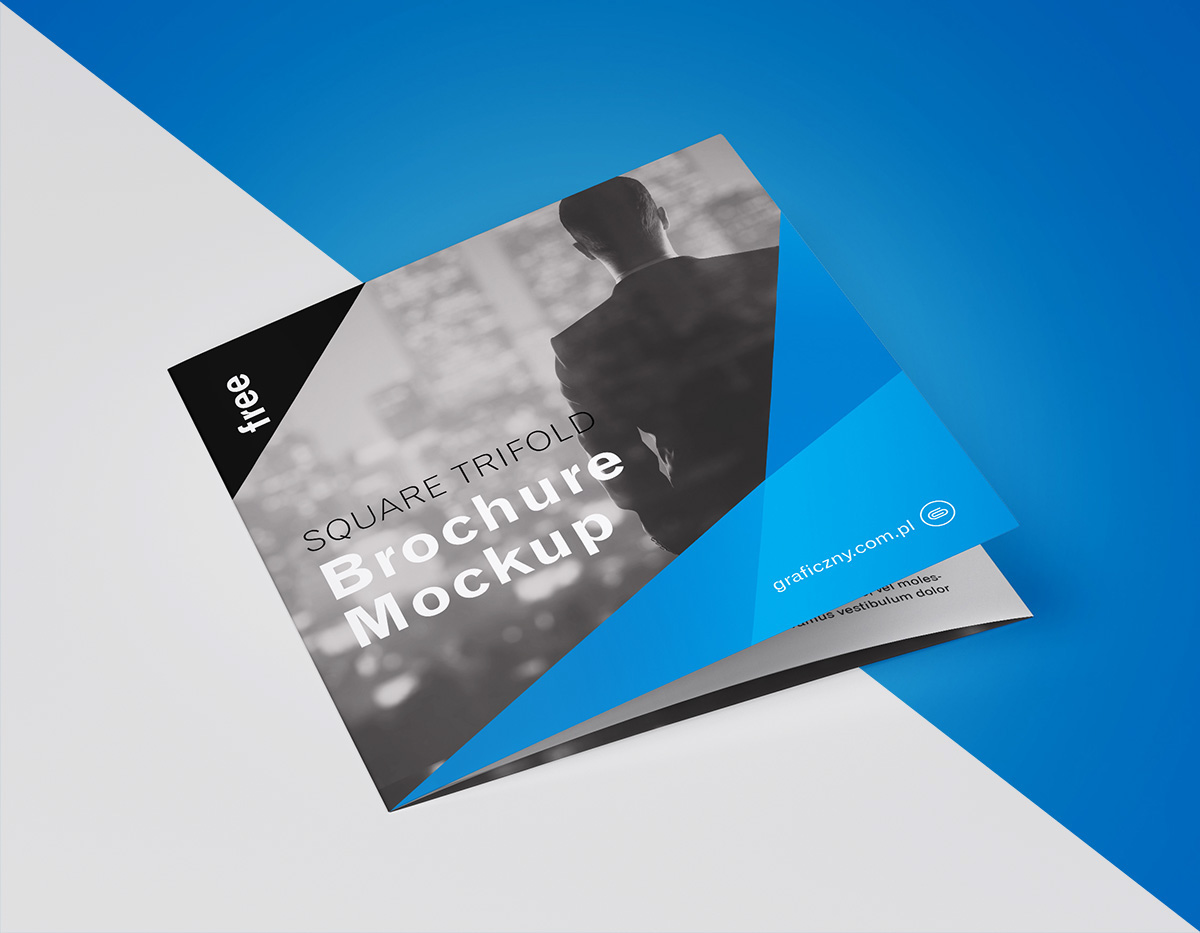 Free trifold square brochure mockup on Behance