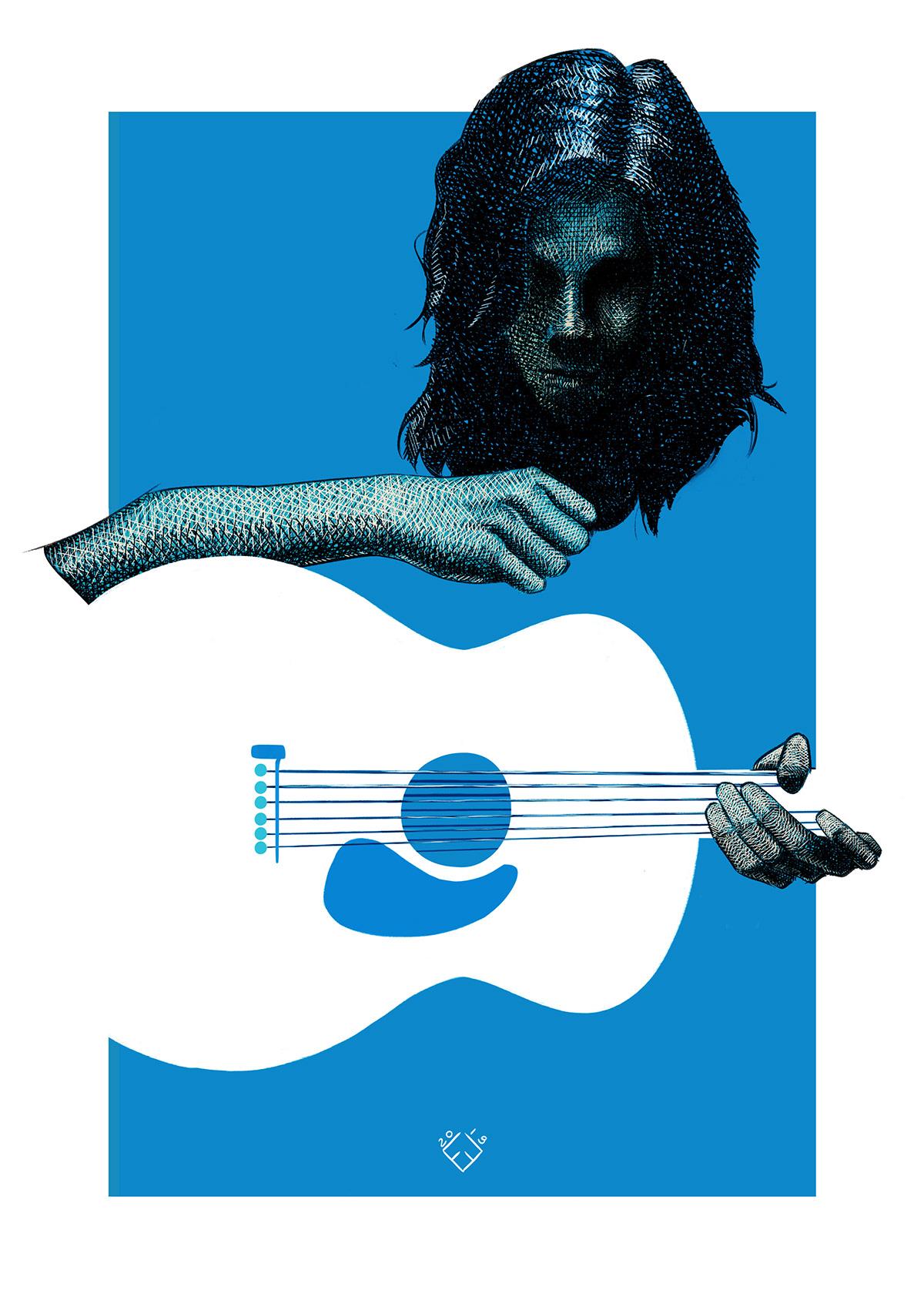 Image may contain: guitar, art and cartoon