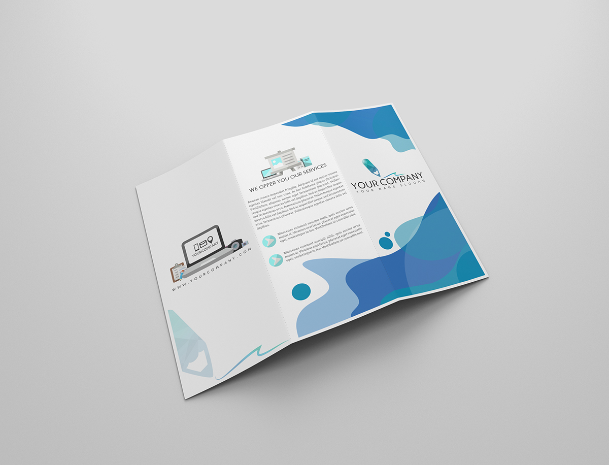 free trifold brochure mockup on behance