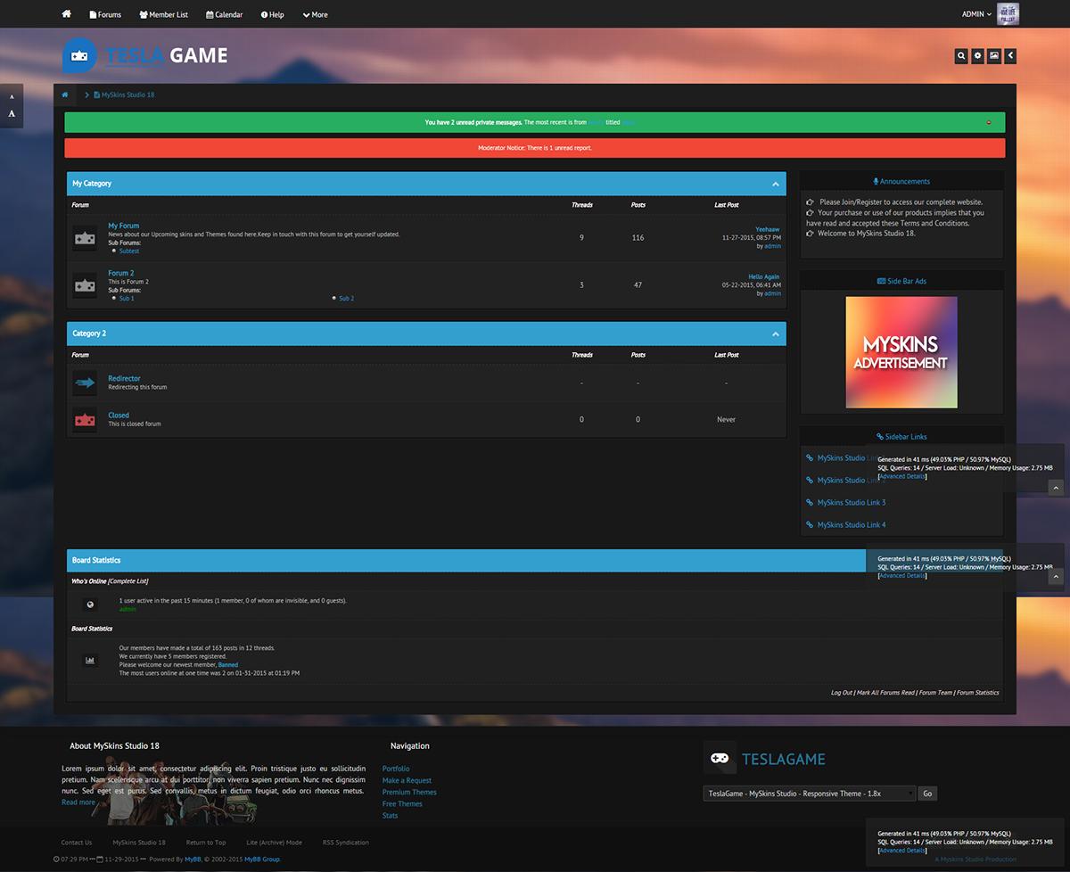 Tesla Game Responsive MyBB Premium Theme MySkins Studio on