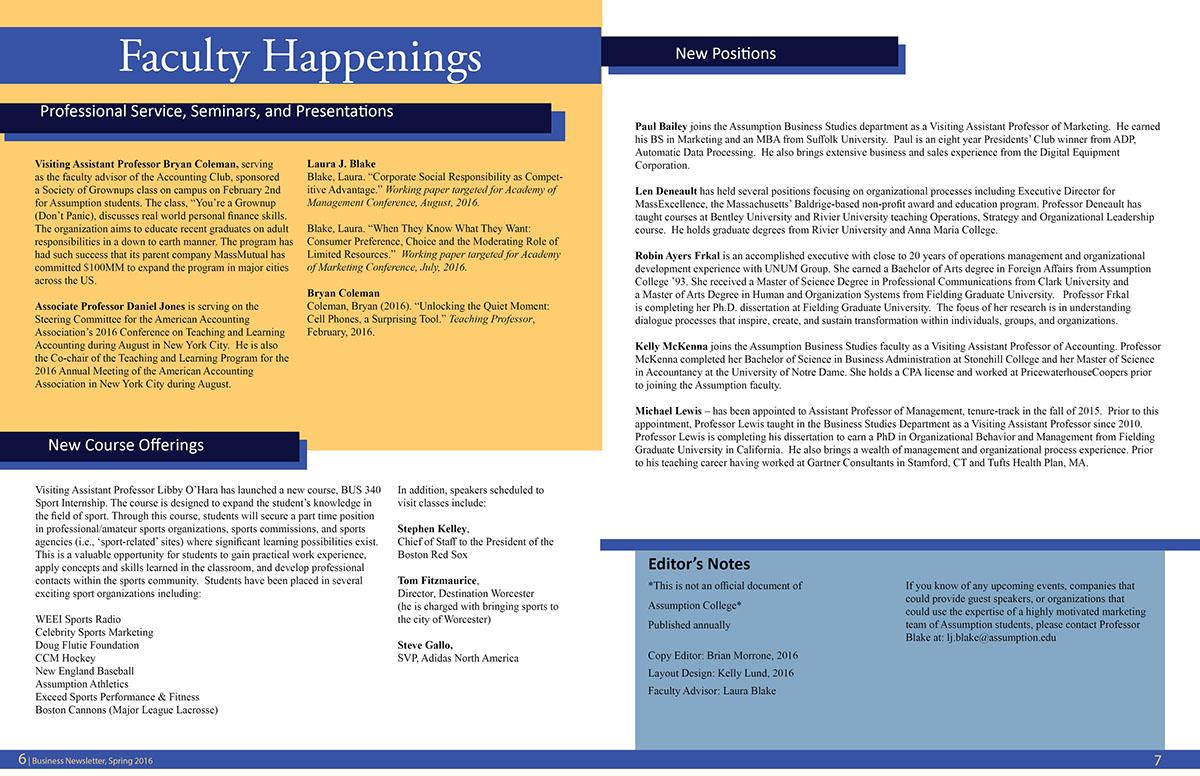 Assumption College Business Department Newsletter on Behance