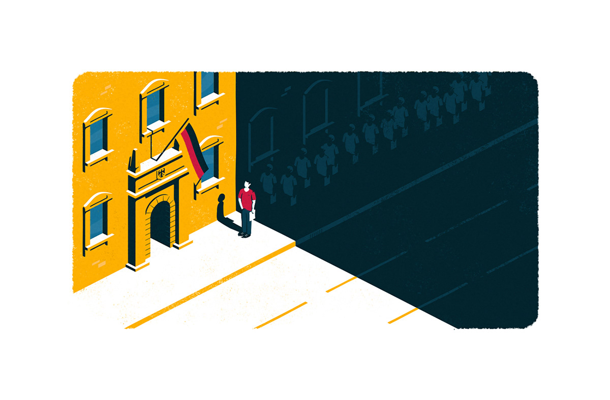 Isometric illustration showing a queue of people waiting at the embassy to get a visa.