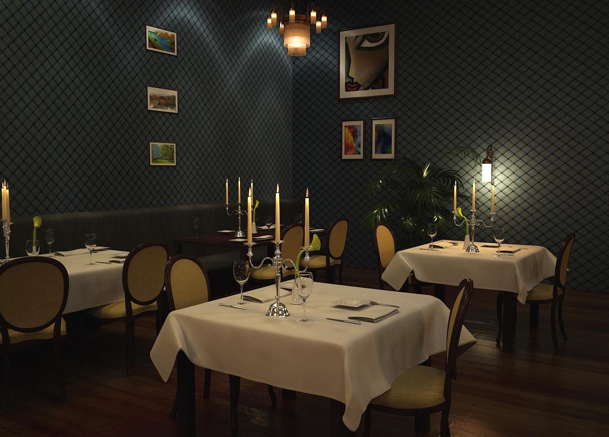 restaurant design 3D Rendering Lighting Design  3ds max