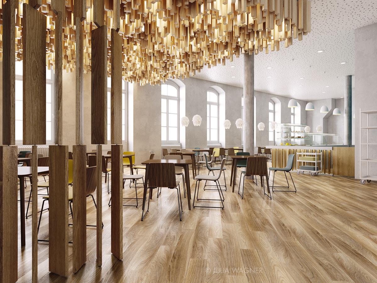 wood Interior cafe cafeteria Hospital Design cafeteria design yellow blue petrol White