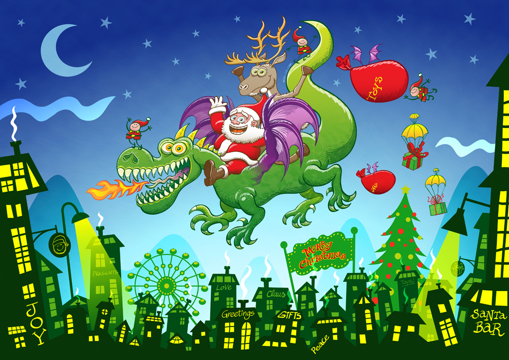 Santa replaced his reindeer by a dragon, full scene