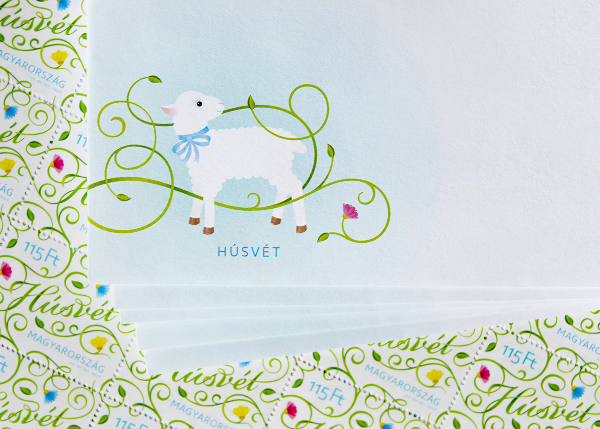 postage stamp stamp post hungary Easter lettering flourish ornamental decorative Tendril Nature lamb bird flower