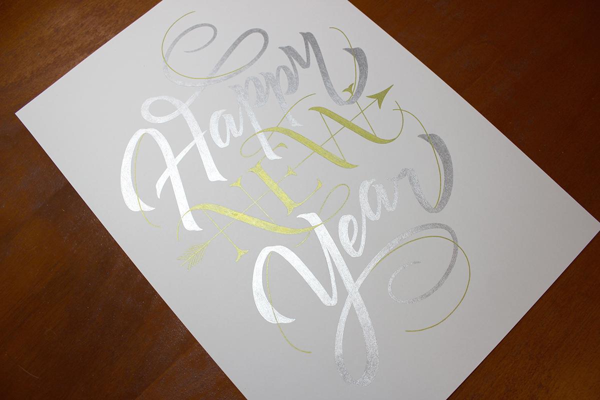 lettering happynewyear type letter