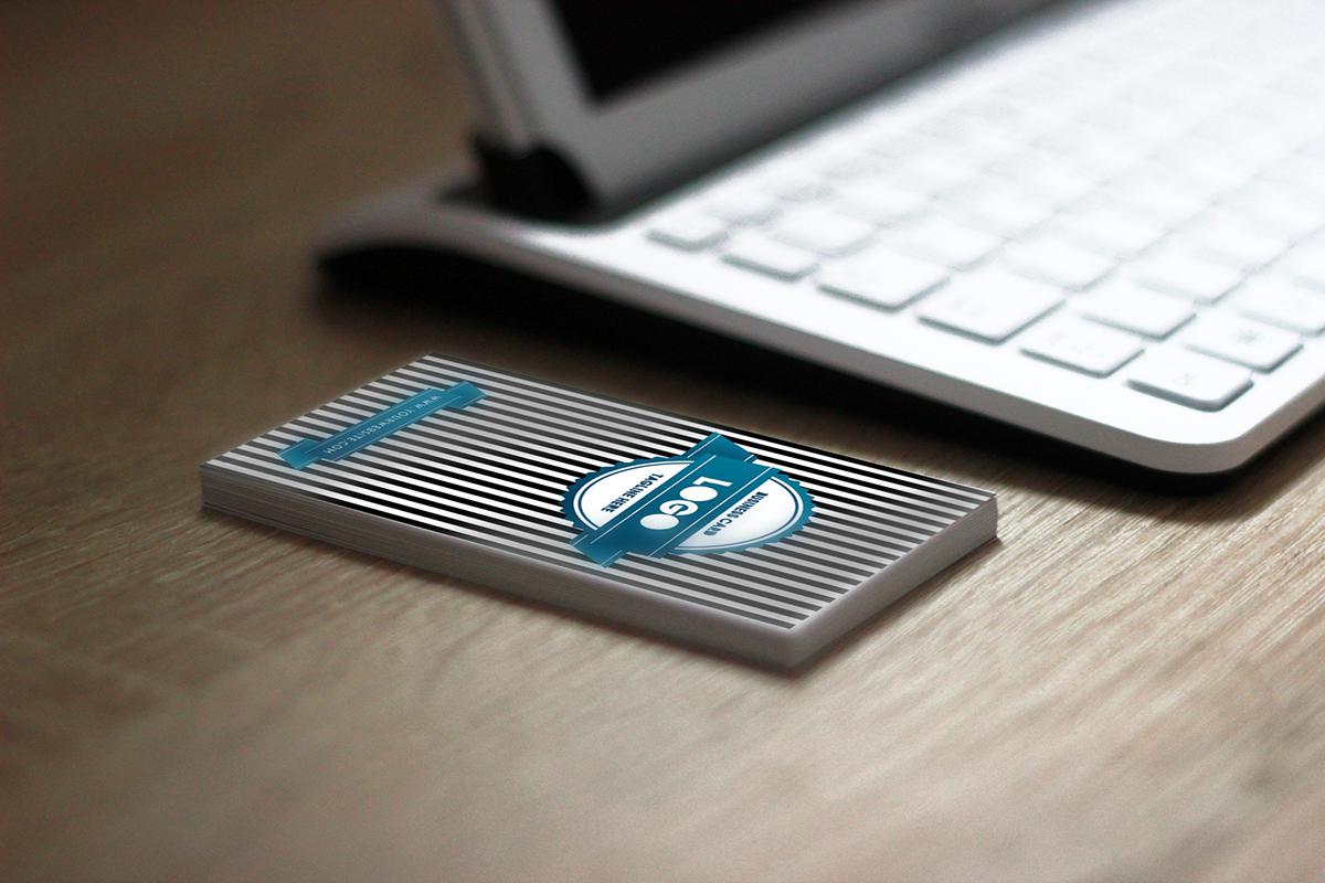 business card vintage Brand Design black and white stripes creative identity blue print