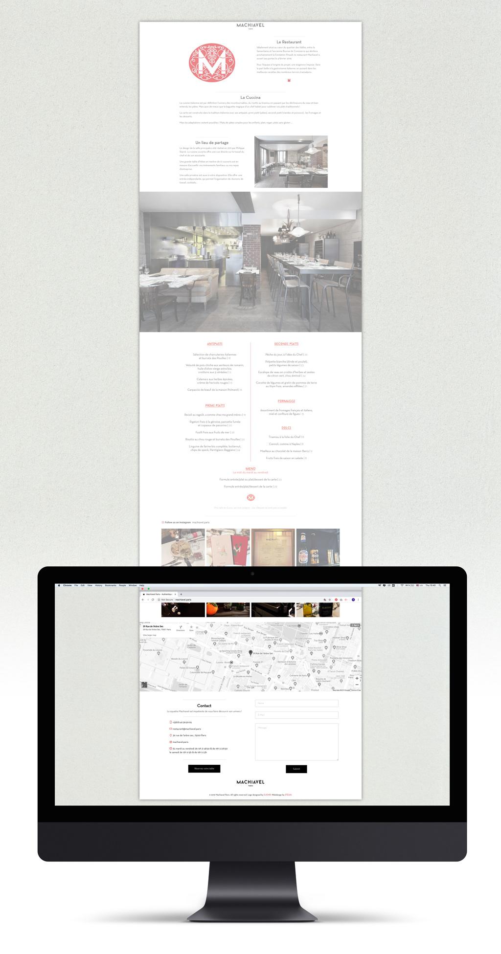 restaurant food&beverage Website Webdesign graphic design  djohr machiavel paris Machiavel