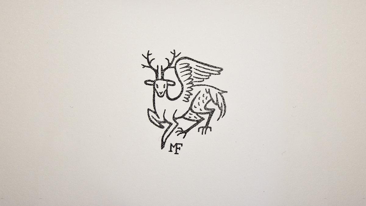 Ex Libris stamp bookplate animal mythology deer pigeon knight book mouse bird raven creature figure DANCE