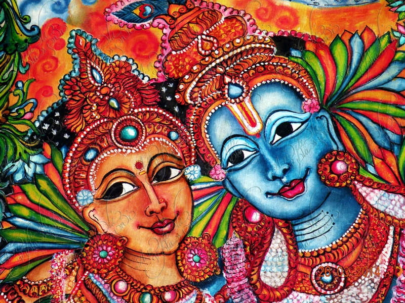 Radha krishna kerala mural style fabric painting on behance for Mural radha krishna