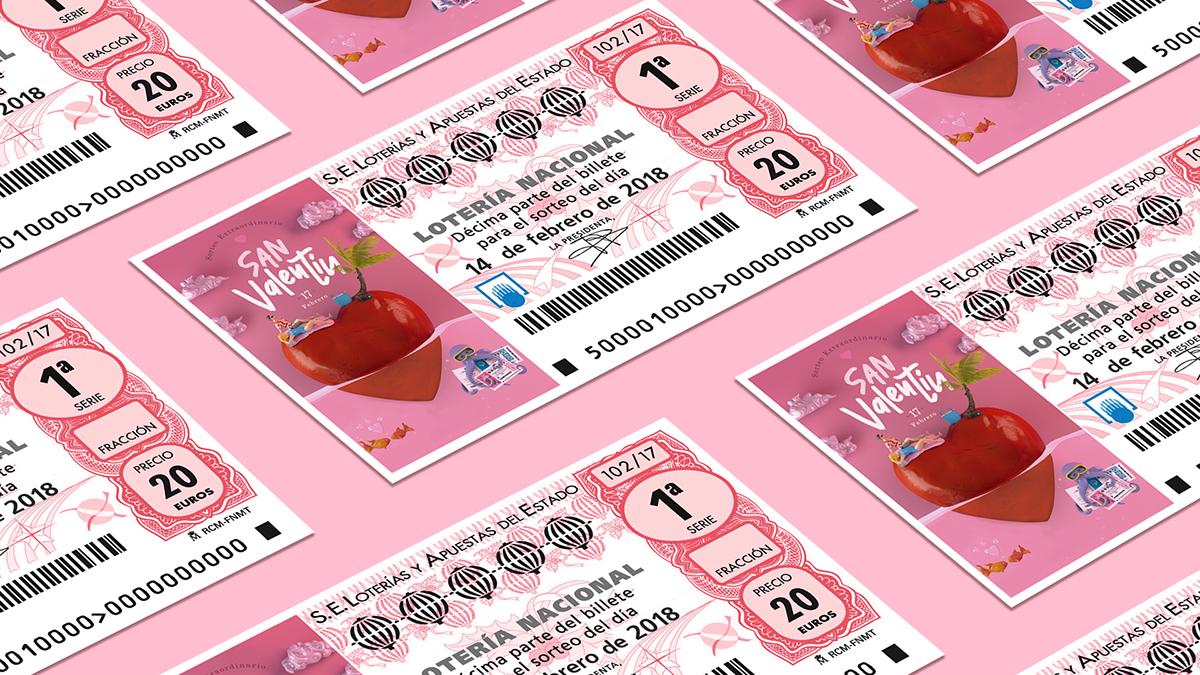 San Valentin Loterias Décimo Love loterias del estado amor Suerte ilusion febrero pareja