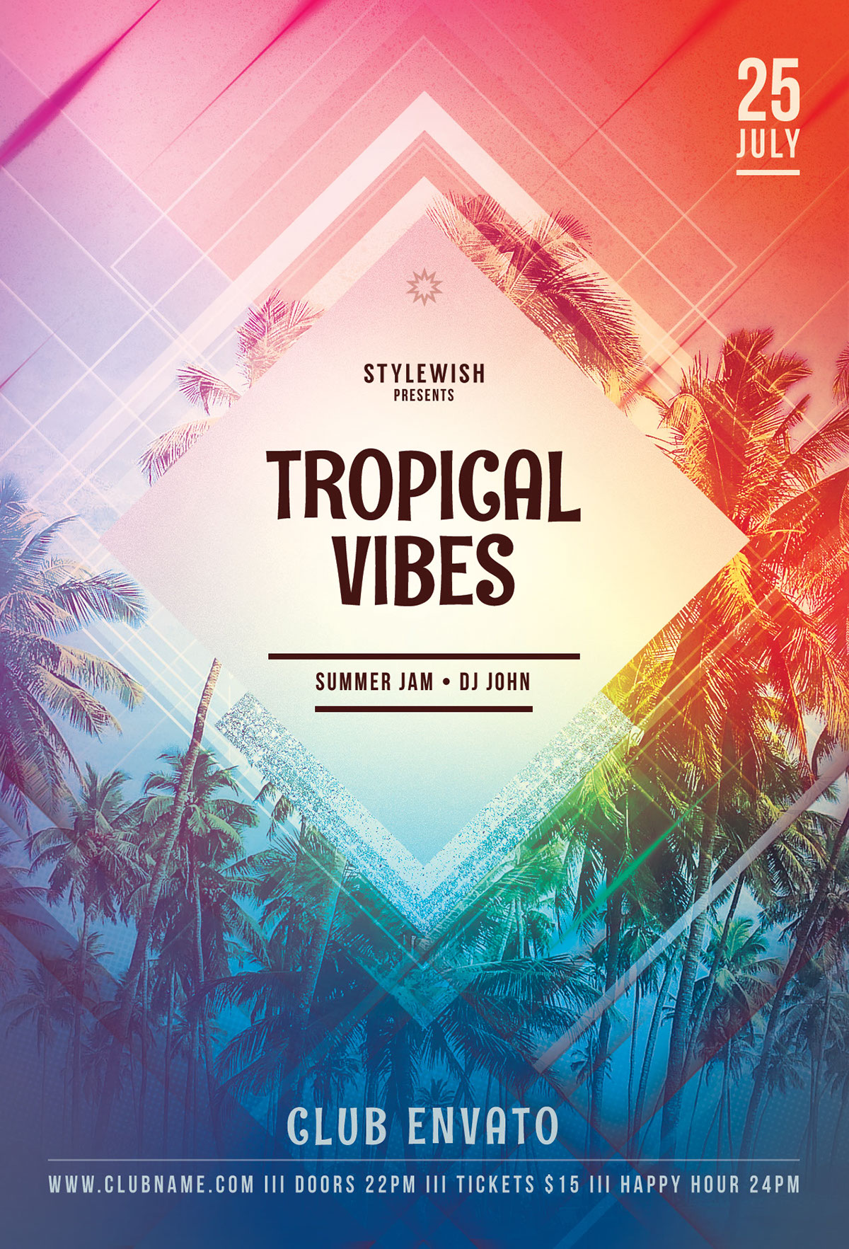 tropical vibes flyer on behance