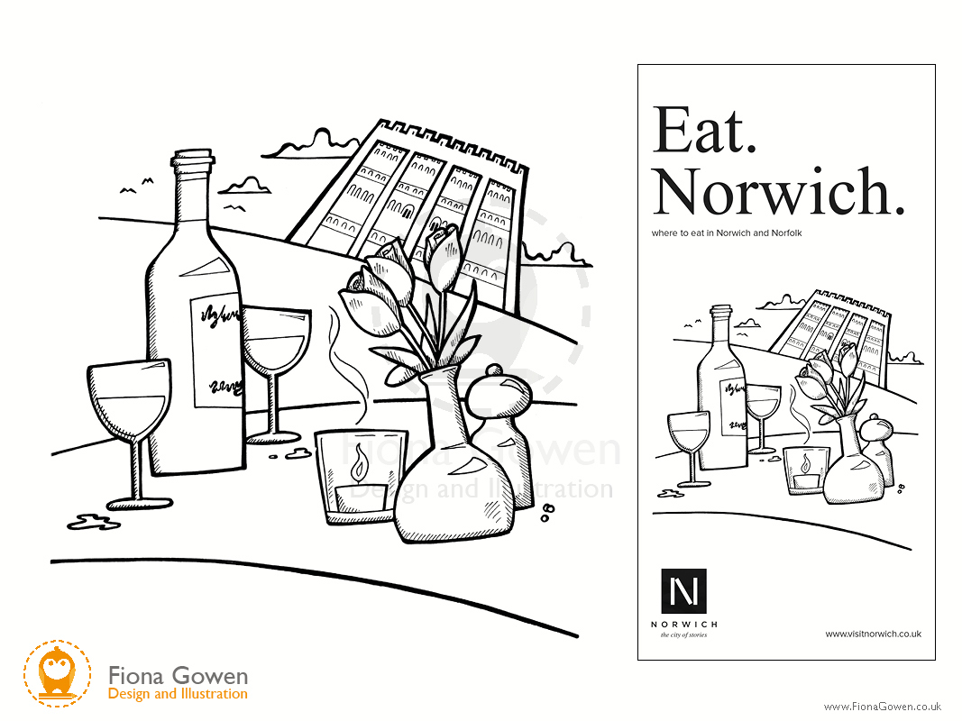 Illustration of table setting with wine, wine glasses, candle and flowers with Norwich Castle in the background. Illustrated by Fiona Gowen