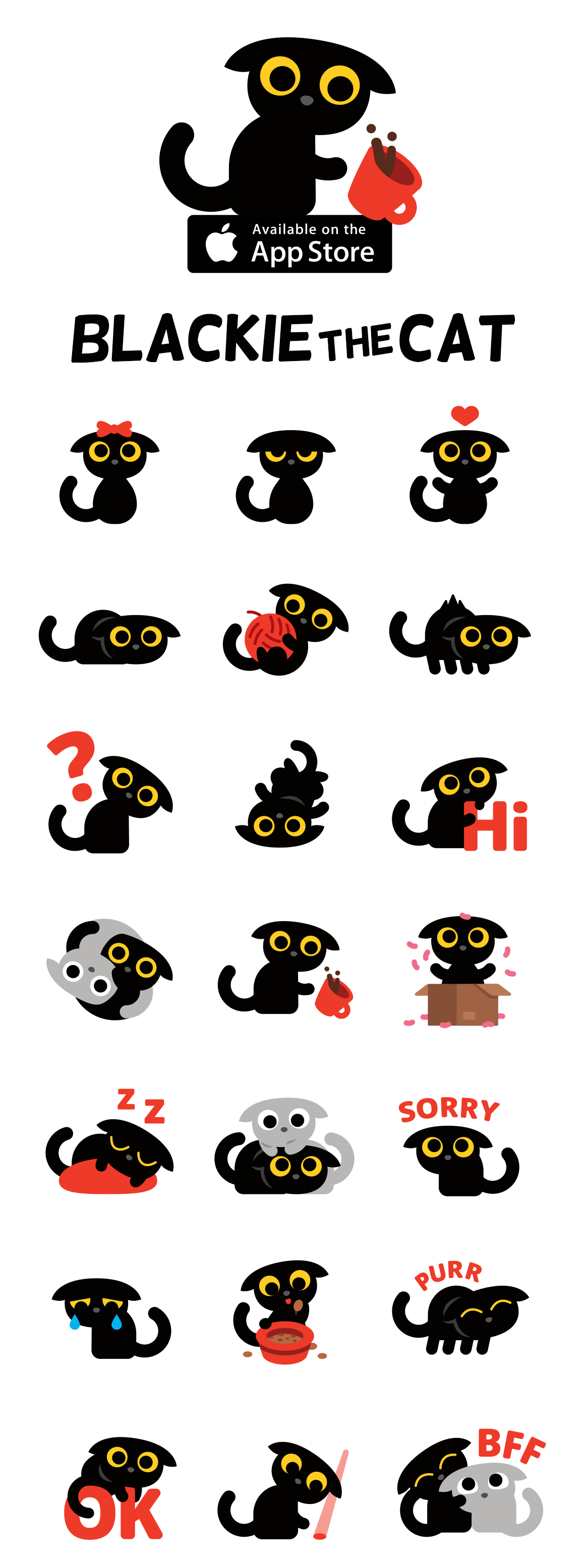 Emoji Emoticon characters cute funny ILLUSTRATION  flat Cat monsters sticker