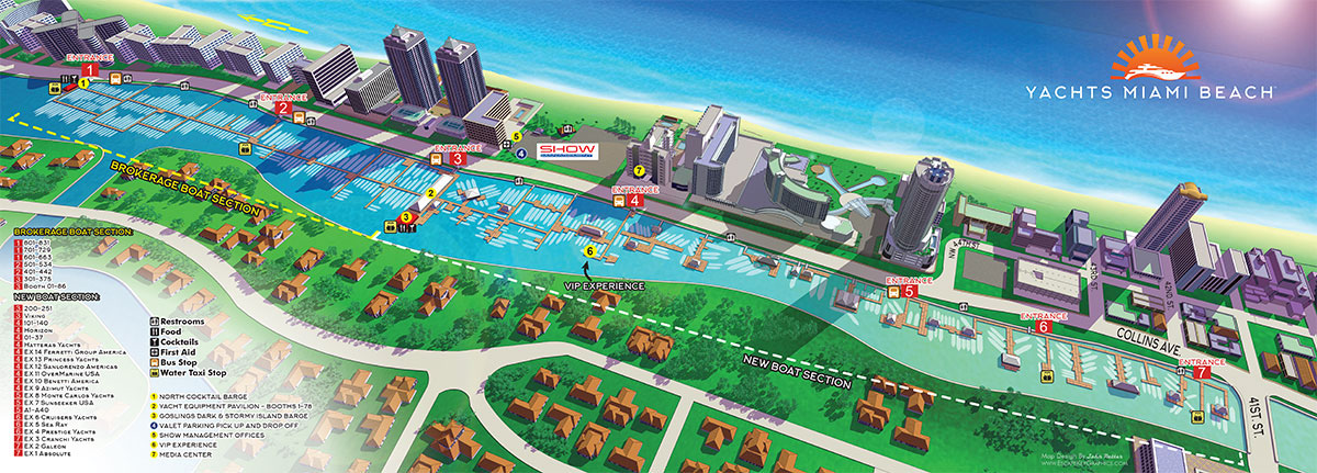Illustrated Maps for a Miami Beach Boat Show on Behance