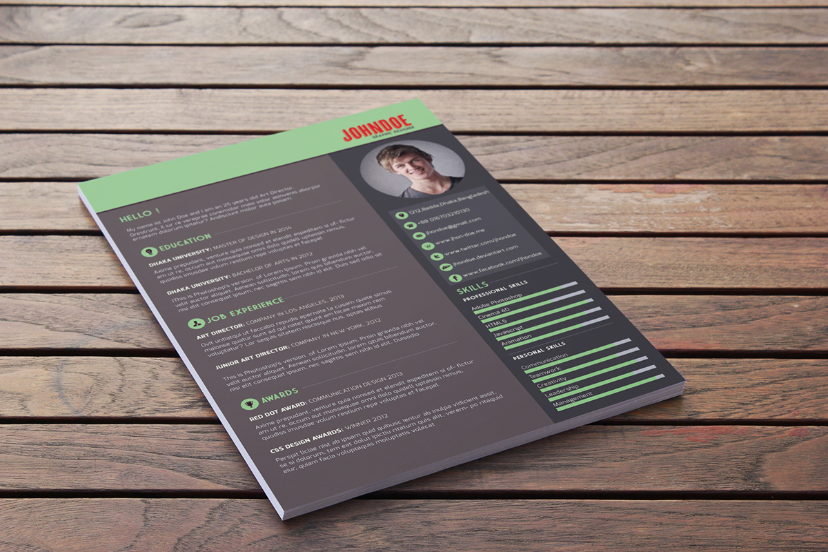 free resume template download on behance