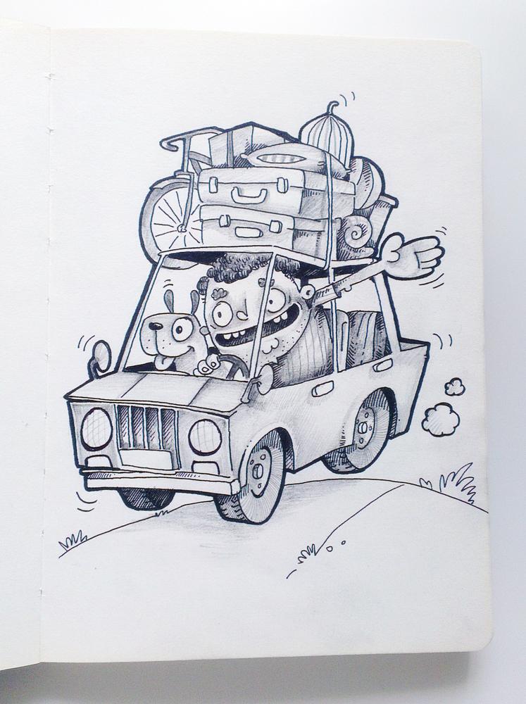 cartoon Character funny vector Illustrator poster cute art vacation Cartoon Illustration