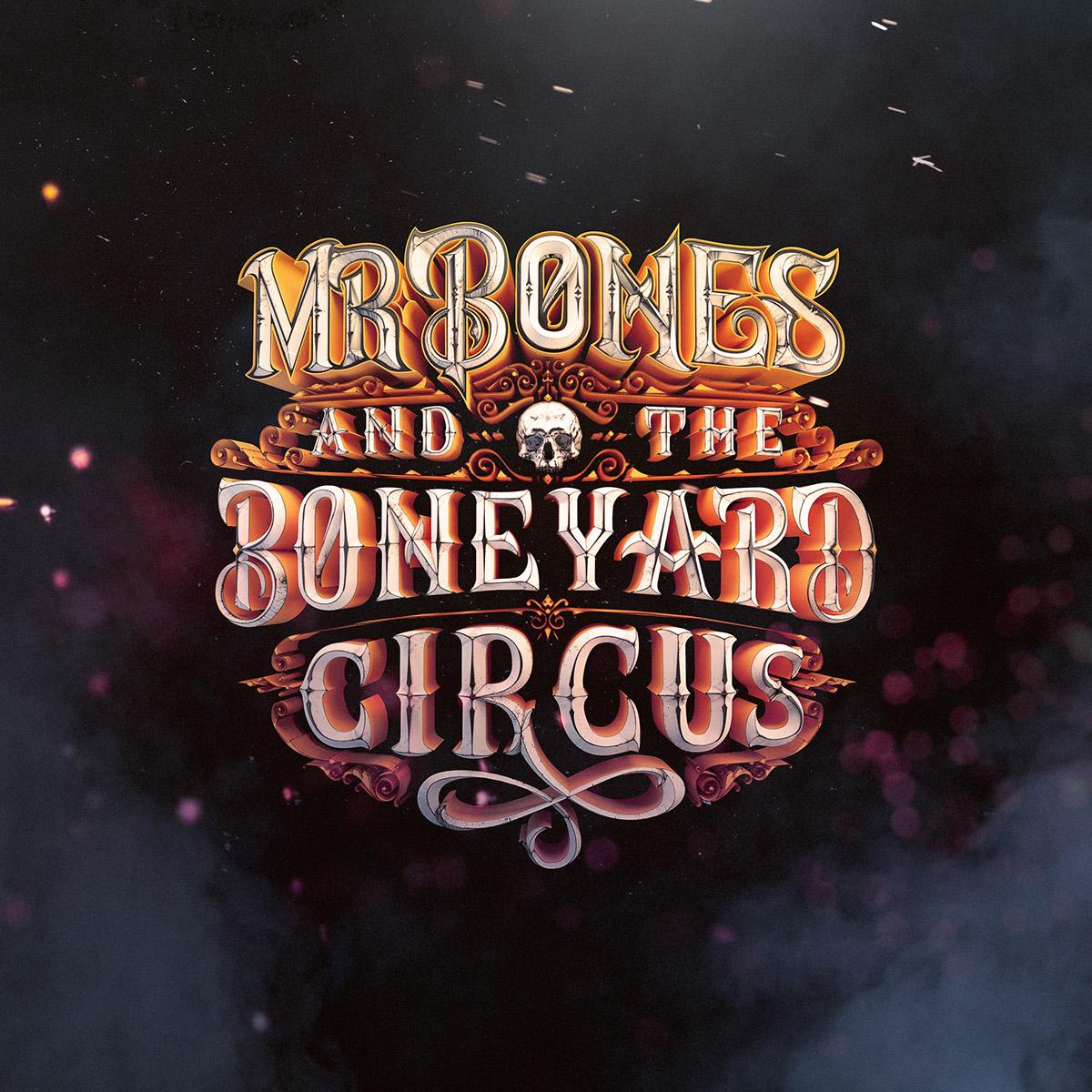 boneyard Circus logodesign machineast dark horror bone vintage metal rockband Mr Bones 3D typography 3D lettering HAND LETTERING lettering
