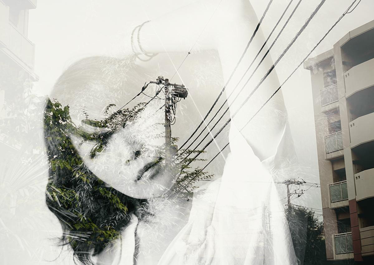 Adobe Portfolio double exposure multiple exposure portrait japan woman self portrait face color bw