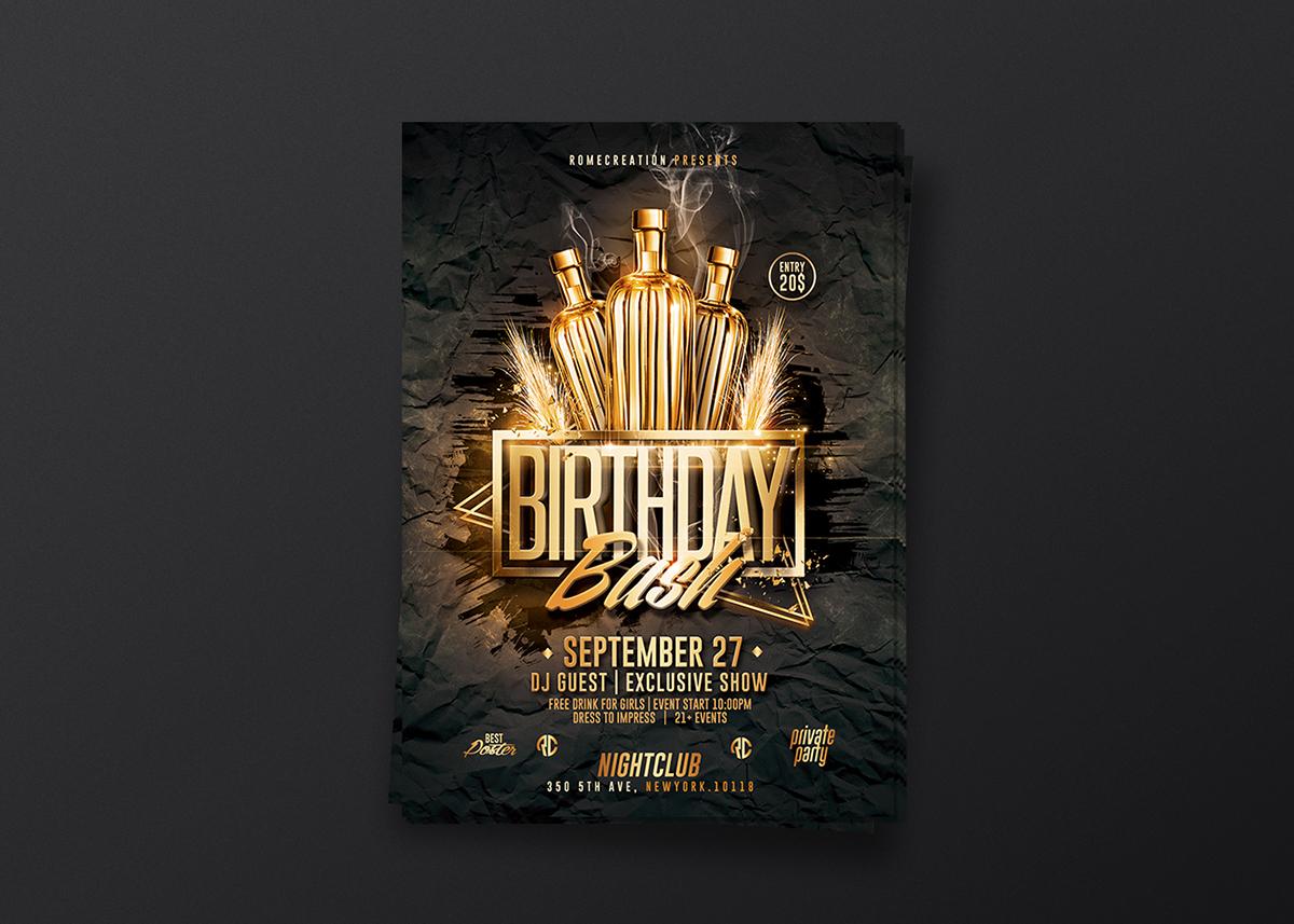 creative birthday flyer templates on behance