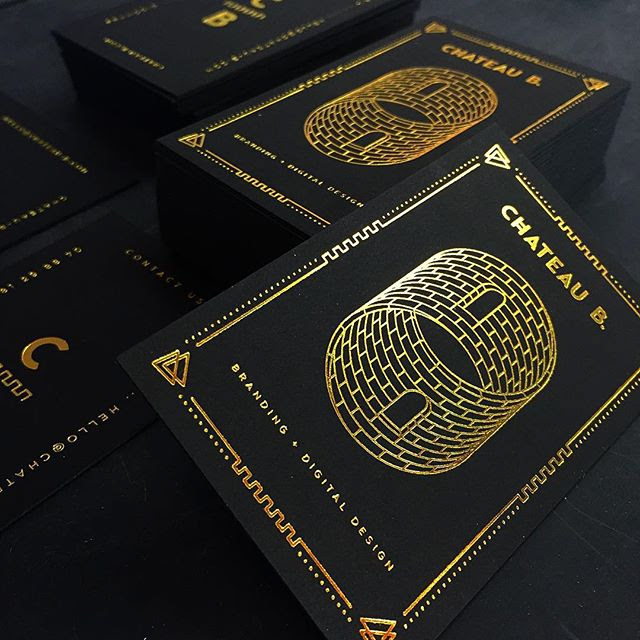 30pt onyx black paper with gold foil business cards on behance reheart Image collections