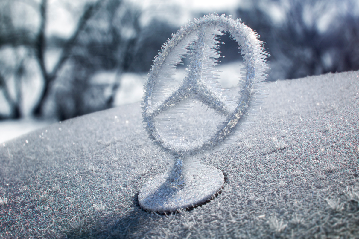 snow ice mercedes star frost fullCG CGI Maya vray chaosgroup