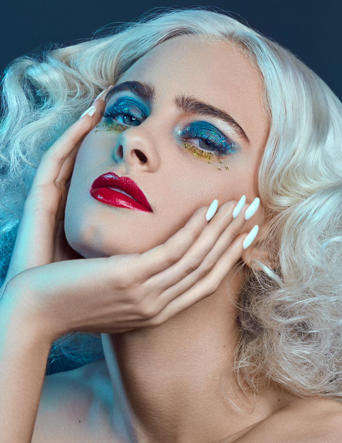 art direction  beauty beauty editorial blue cosmetics editorial macro magazine makeup Photography