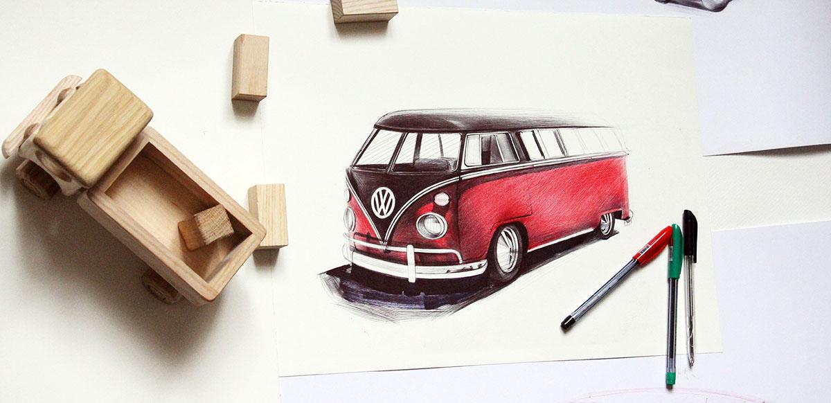 volkswagen car carsketch sketch ballpoint pen lamborghini automotive   yelena yefimova Auto ballpoint