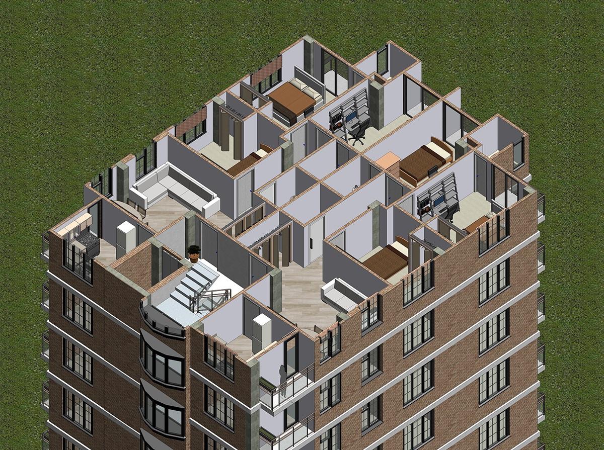 Apartment house design revit on behance for Revit architecture house design