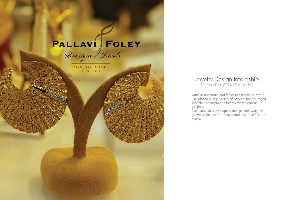 Pallavi Foley Jewelry Design Internship On Behance