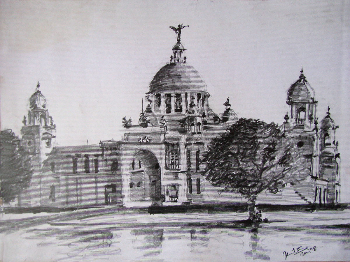 Queen victoria palace kolkata india pencil on paper
