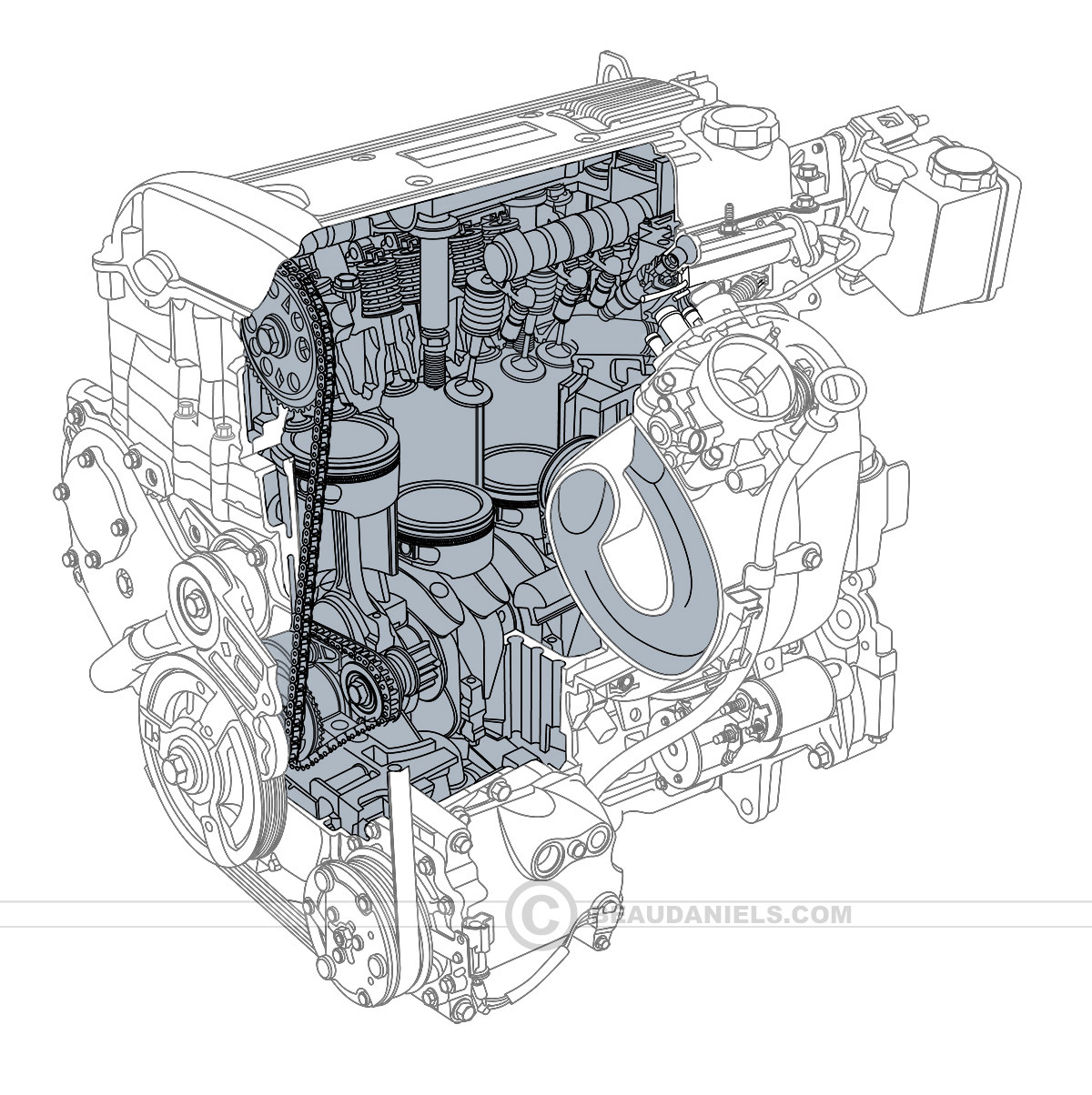 Generic Car Engines Portfolio 1 On Behance Toyota Motor Diagram