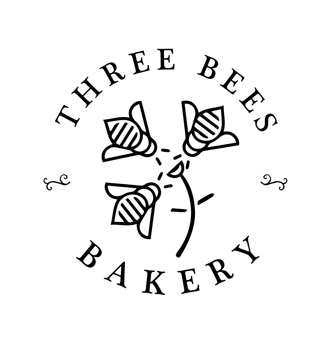 Logo Design bakery graphic design  three bees