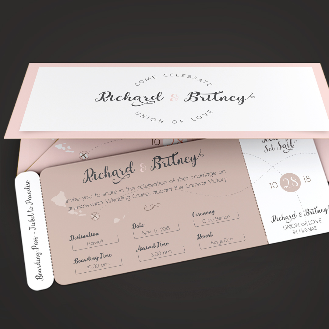 Pinky wedding boarding pass invitation template on behance pinky wedding boarding pass invitation template is for any wedding or engagement event that needs an earthy theme a boarding pass style ticket and jacket stopboris Image collections