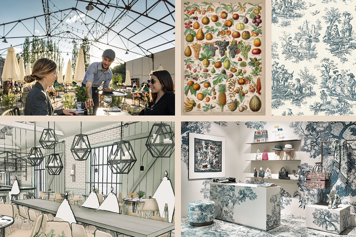 Moodboard of CRAFT Market concepts: steel roof truss, metal frames and French Toile de Jouy pattern.