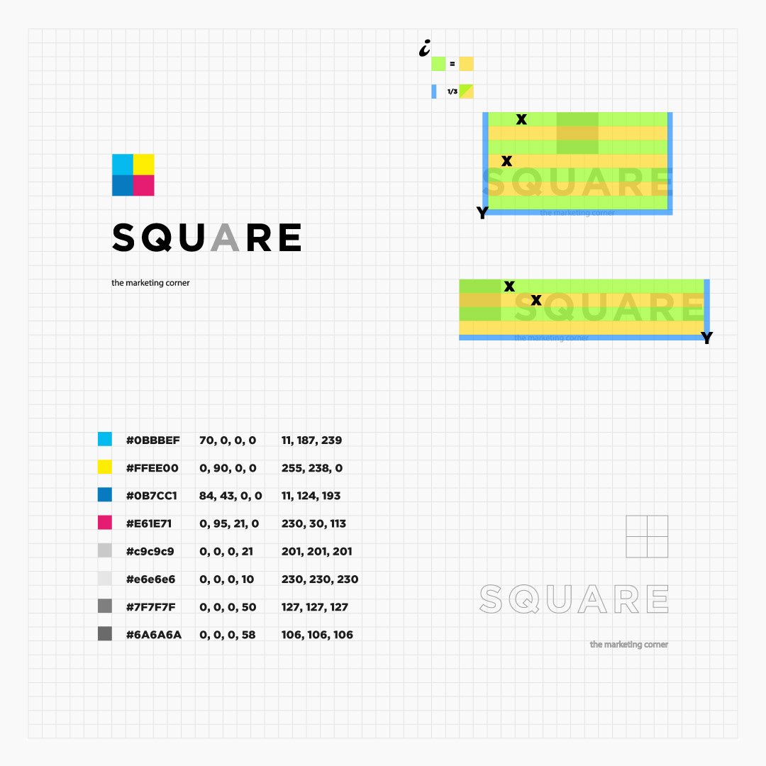 dimension and ratio square logo and palette