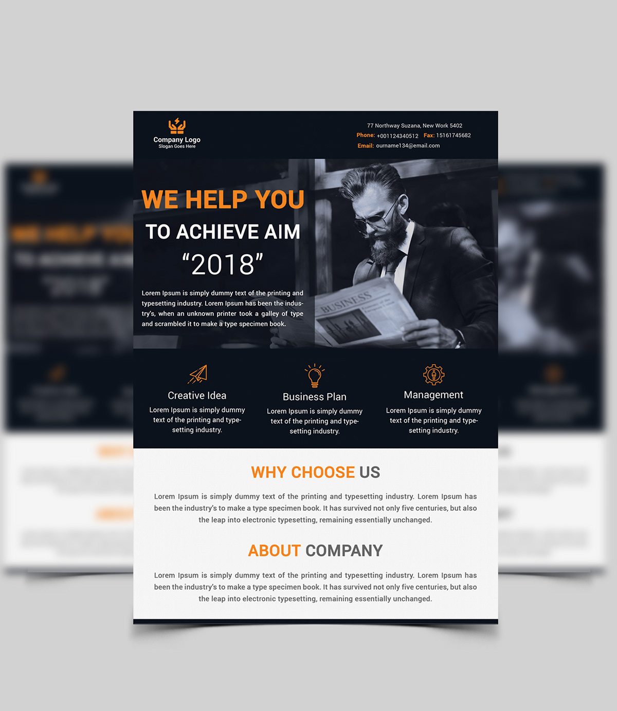 corporate business flyer title design on pantone canvas gallery
