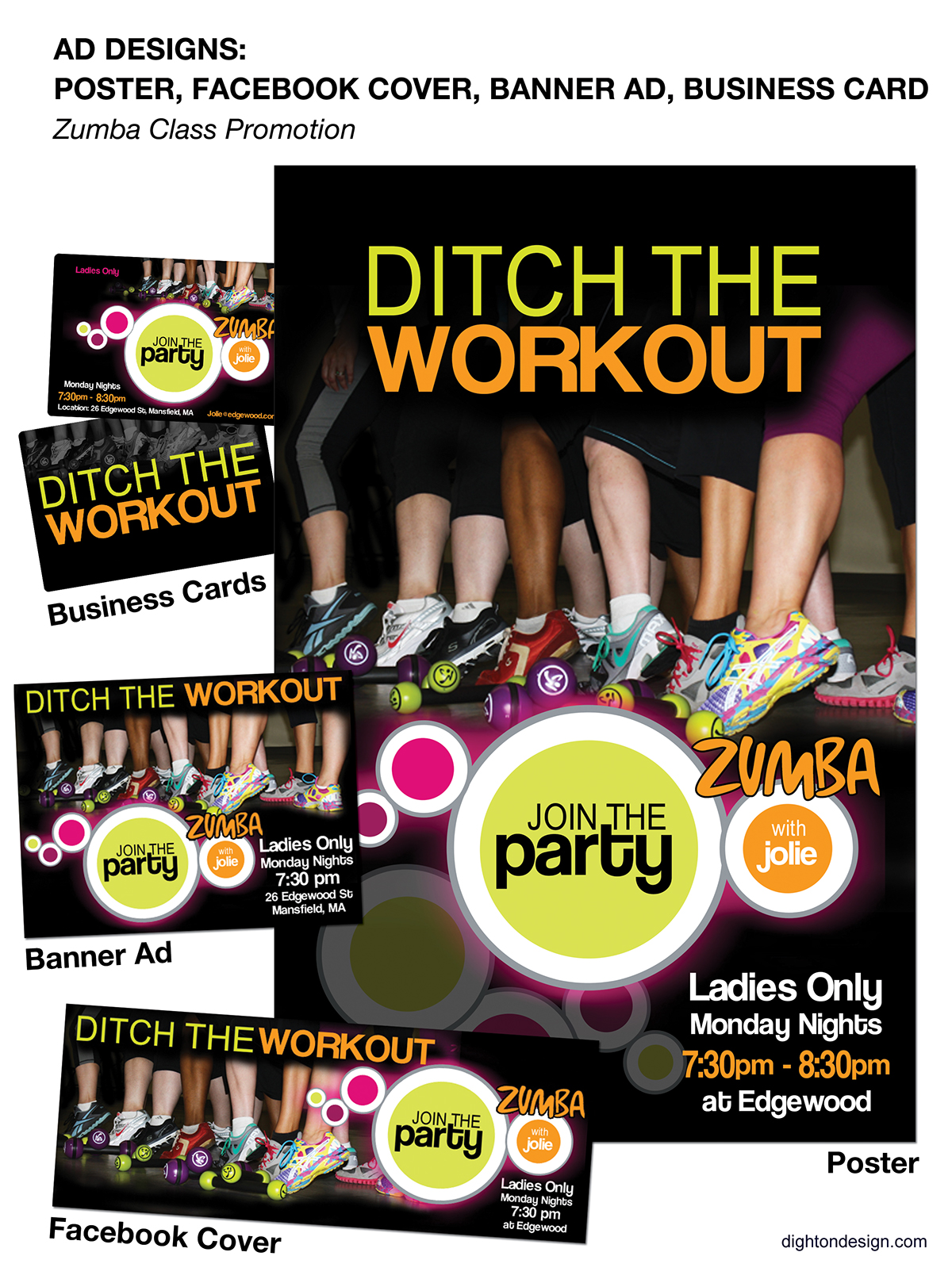 Print and web ad designs for zumba class promotion on behance reheart Image collections