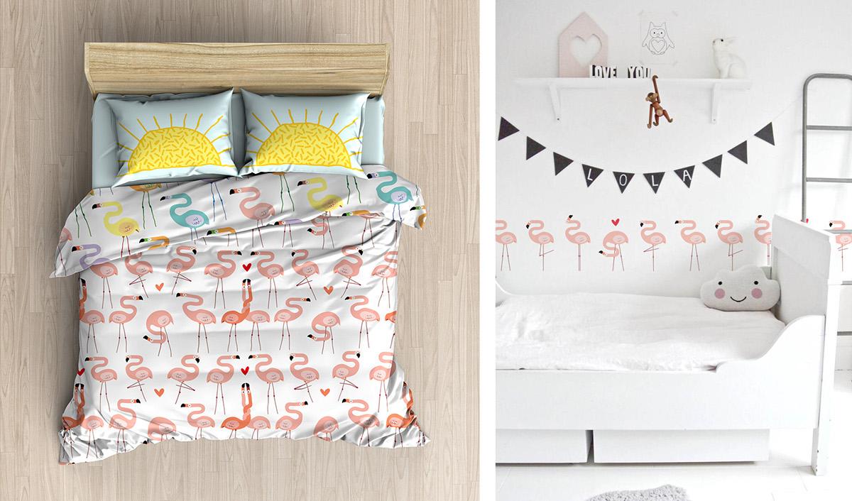 flamingo,vector,pattern,print,bird,Love,couple