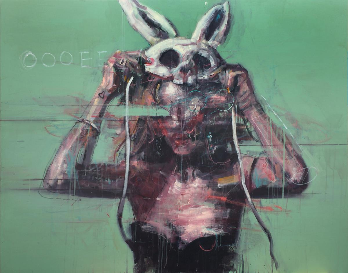 Being a rabbit #01 92x116cm acrylic on canvas