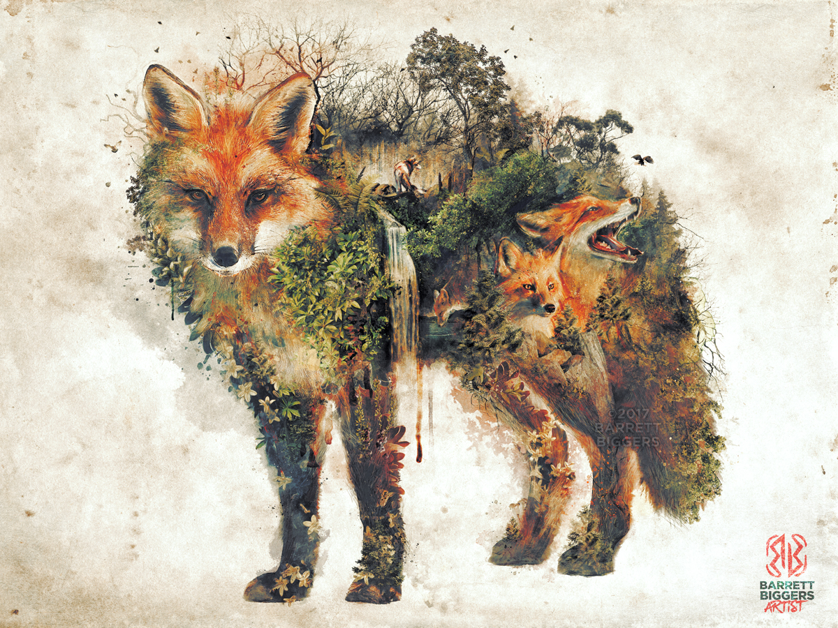 nature surrealism fox animal etsy painting biggers barrett natural forest prints illustration series behance print landscape shirts study