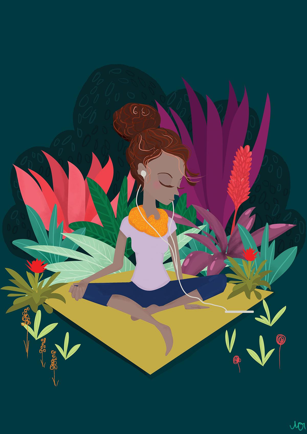 women reflect meditation Create bright garden vector Character texture hope