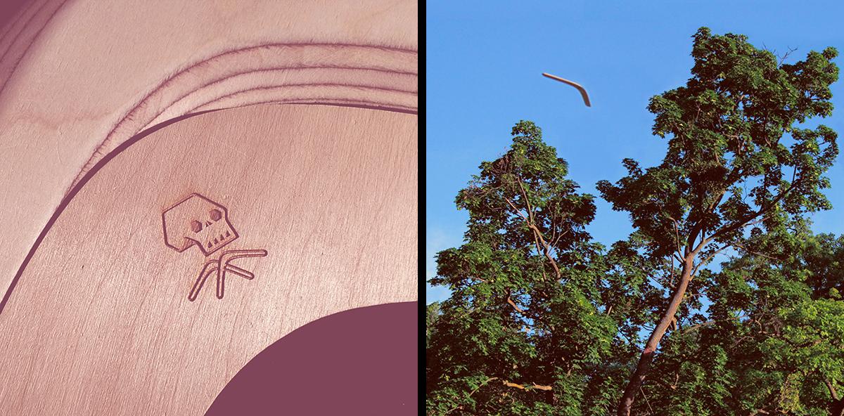handmade manufacturing woodworking Boomerang Stories artobject skull
