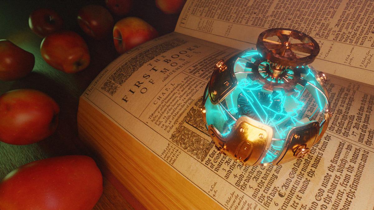 apple b3d bible blender 3d Christianity render 3d STEAMPUNK