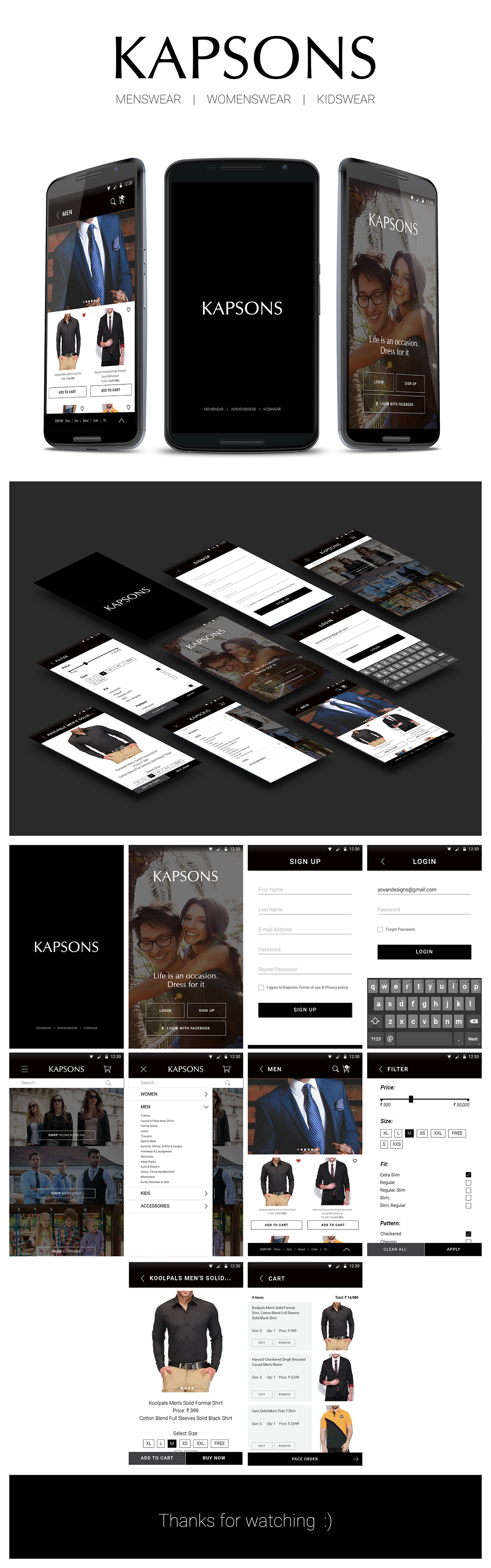 e-commerce Shopping Mobile app android iphone lifestyle Menswear womenswear accessories Appdesign kapsons user interface apple ux app design